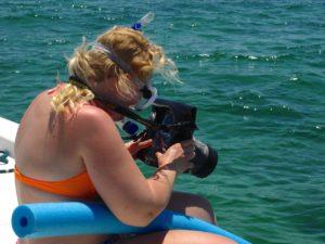 Keys Boat Tours snorkle underwater camera bag